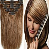 13inch 80g #6 Light Brown Clip in Real Remy Human Hair Extensions Full Head Natural Hair Clip in Hair Extensions Thick Straight 8pcs