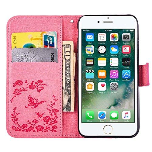 "MOONCASE iPhone 7 Hülle, Premium Leder Schutzhülle [Blumen Schmetterling Serie] PU Leder Flip Handyhülle Tasche Case für iPhone 7 (4.7"") Grün Rosa"