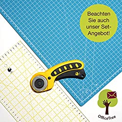 Officetree® Set Cutting Mat - 60x45 Cm (A2) Blue + Rotary Cutter + Ruler 60x16 Cm - Premium Quality - For Professional Cutting Work -