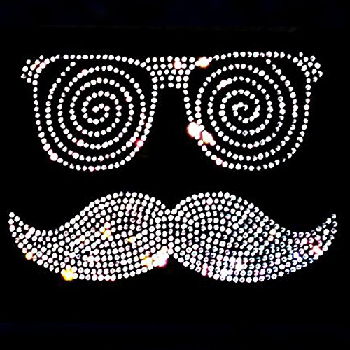 elegantes Damen Shirt grosser Moustache kristall mit Brille Party Mustache Karneval Fasching Rot