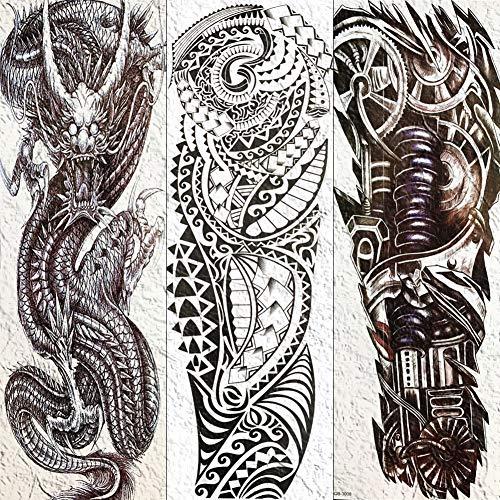 Volle Mechanische Roboterarm Temporäre Tätowierung Wasserdicht Schwarz Maori Totem Tattoo Aufkleber Für Männer Frauen Körperkunst Gefälschte Tätowierung Papier 17X48 cm