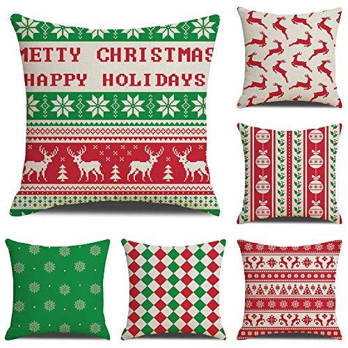 ZHAOCC Kissenbezug Kissenbezug Sofa Kissenbezug 6 Stück Set Weihnachten Schneeflocke Gitter Weiche Dekoration Schlafzimmer Wohnzimmer Dekoration