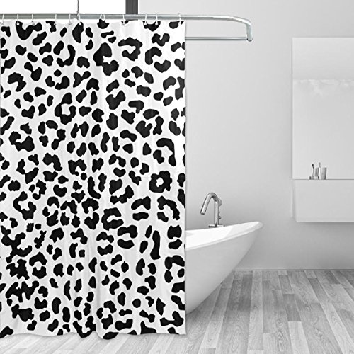 COOSUN Leopard-Muster Duschvorhang Set Polyester-Gewebe Wasserabweisend Badezimmer Duschvorhang Set Hauptdekoration mit Haken, 60W X 72L Inche 60x72 Mehrfarbig