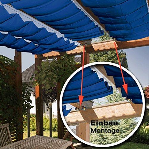 Seilspannmarkise ca. 415x140 cm blauen Sonnensegel Metall Seilspanner