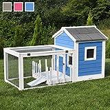 """Miweba Hasenstall """"My Animal"""" MH-25 Haus mit Garten Hasenvilla Kaninchenkäfig Hasenkäfig Kaninchenstall Hamster (Blau/Weiß)"""