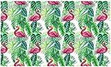LONGYUCHEN Papel Tapiz Mural 3D Personalizado Patrón Botánico Hoja De Palma De Flamenco Adecuado Para Sala De Estar Dormitorio Del Hotel Café Decoración Para El Hogar Mural De Seda,200Cm(H)×300Cm(W)