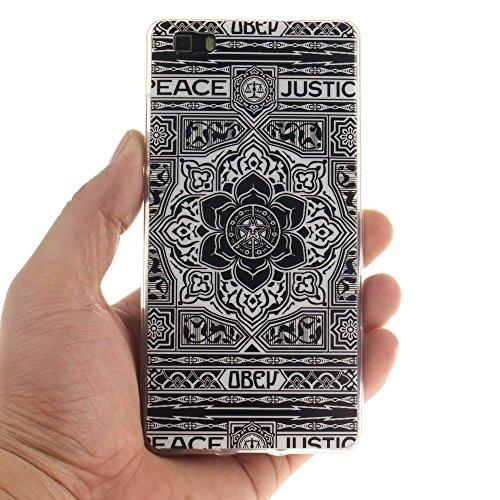 Huawei Ascend P8 lite Coque,BLKJ Huawei Ascend P8 lite Housse Etui TPU Silicone Clair Ultra Mince Anti-Scratch Back Case Cover pour P8 Lite- 1 Gratuit Touch Pen (Wind chime in Black) Tribal Aztec Flower