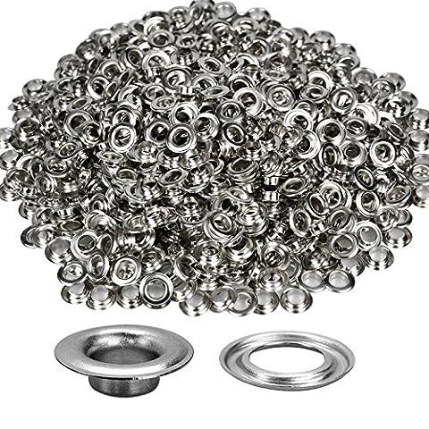 Silber Ösen Tülle für Stoff Vorhang Kleidung und Leder Basteln, Nähen DIY Projekt Vinyl von Hochzeit Decor, metall, silber, 8 mm