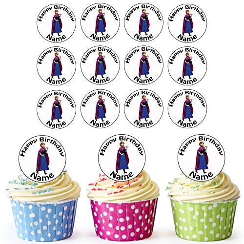 Anna (Frozen) Disney Princess–24Personalisierte Essbare Cupcake Topper/Geburtstag Kuchen Dekorationen–Einfache vorgeschnittenen Kreise
