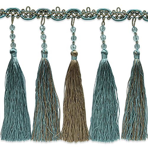 Expo International Cilene Beaded Tassel Fringe Trim, 10 yd, Blue/Multicolor