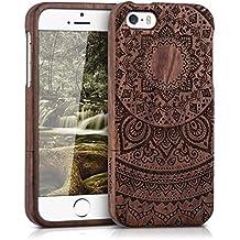 kwmobile Funda para Apple iPhone SE / 5 / 5S - Case protectora de madera palo de rosa - Carcasa dura Diseño sol indio en marrón oscuro