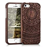 kwmobile Hülle für Apple iPhone SE/5/5S - Rosenholz Case Handy Schutzhülle - Hardcase Cover Indische Sonne Design Dunkelbraun