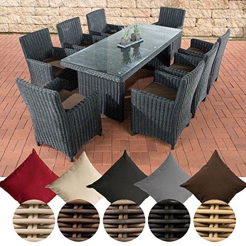 CLP Poly-Rattan Sitzgruppe FONTANA XL (8 Stühle + Tisch 200 x 90 cm), Premiumqualität: 5 mm RUND-Geflecht Bezug: Terrabraun, Rattan Farbe schwarz