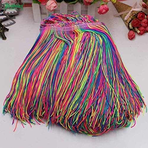 AiCheaX Tanzkleid mit Fransen, Tasselbesatz, Spitze, Dip-Färbung, Ombre, Lateinisches Kleid, Makramee, Samba, Kleidung, Spitze, Huality Single Band, 9-20 cm - (Größe: 9 cm) -