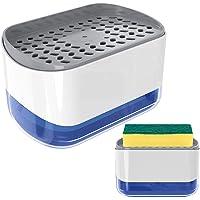Nordun Distributeur de Savon Liquide avec Porte-éponge 2 en 1,Distributeur Liquide Vaisselle,Distributeur de Pompe à…