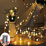 LED Lichterkette, KOLIER 5m 50 LEDs Warm Weiß Globe Batterie Lichterkette mit Fernbedienung, Globus Lichterketten Timer für Weihnachten, Hochzeit, Parte im Haus oder Outdoor (5m)
