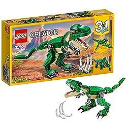 Creator - DinosaurierViel Spaß mit dem fantastischen T-Rex in den Farben Dunkelgrün und Beige. Der Dinosaurier besitzt leuchtend orange Augen, bewegliche Gelenke, einen beweglichen Kopf, große Klauen und ein aufklappbares Maul mit spitzen Zähnen. Ebe...