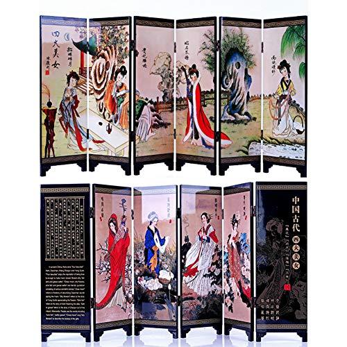 Orientalische Holz-bildschirm (iFireFly Paravent/Raumteiler aus antikem Porzellan, 6 Paneele, lackiert, klein)