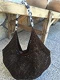Borsa media baguette con ali di piccole pietre, cotone e viscosa, colore marrone-nero per donne o ragazze