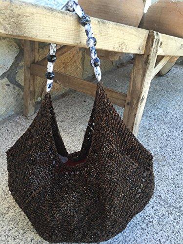 Baguette mittlere Tasche mit Flügel aus kleinen Steinen, Baumwolle und Viskose, braun-schwarz für Frauen oder Mädchen -