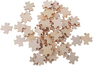 Anbau Pack of 50 Wooden Cutout Pieces Puzzle Shape Embellishments for Kids DIY Art Crafts