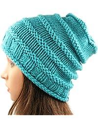 Magic Needles - Winter Woolen Cap (Handmade Womens Spiral Slouchy Beanie 4243ee39347f