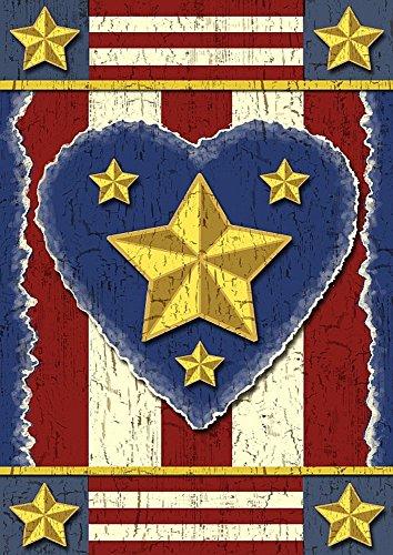 Juli 4. Primitiv Patriotische House Flagge Herz Sterne groß Banner 71,1x 101,6cm
