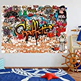 murimage Papier Peint Graffiti 183 x 127 cm photo mural Brique Pierre Coloré Jeunesse chambre Enfants Rustique wallpaper colle inclus