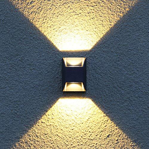 LED-Wandleuchte Aussen Innen Aluminium Schwarz Wandlampe Up Down Wand-Beleuchtung Wasserdicht IP54 Für Treppenhaus Flur Theater Studio Halle Korridor Nacht Schlafzimmer, Warmweiß Gang-home-theater -
