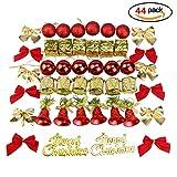 44pcs Weihnachtszubehör Weihnachtsbaumhänger für Dekorationen mit roten dekorative weihnachten eier jingle - bells - mini - golden drum und andere xmasand andere xmas - anhänger