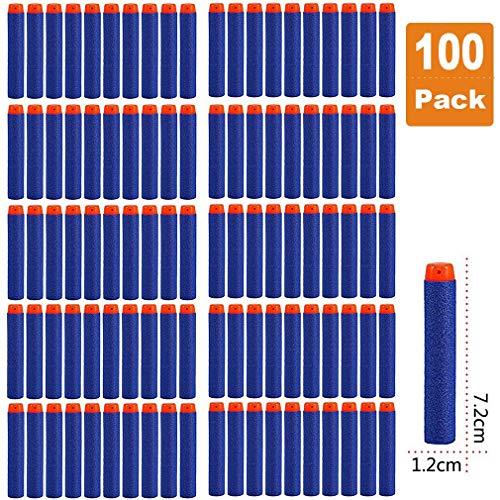 Darts Pfeile für Nerf Zubehör, 7.2cm Refill Bullets Pfeile Nachfüllpack Darts für N-Strike Elite Blasters Spielzeugpistole 100 Stück