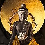Eurographics 50x50 Statue of Buddha I, Glas, gelb, 50 x 50 x 2 cm