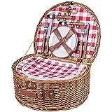 Cesta de picnic picnic maletín Vichy para 4personas Cubiertos Platos vasos Bolsa nevera Sacacorchos mimbre cerámica Cristal