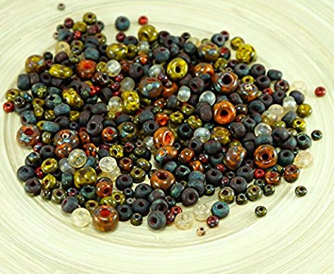 Anissa Exclusive Picasso Mix Czech Glass Seed Beads Rustic Orange Multicolor Striped Rough Aged Tribal 20g - Età Vetro