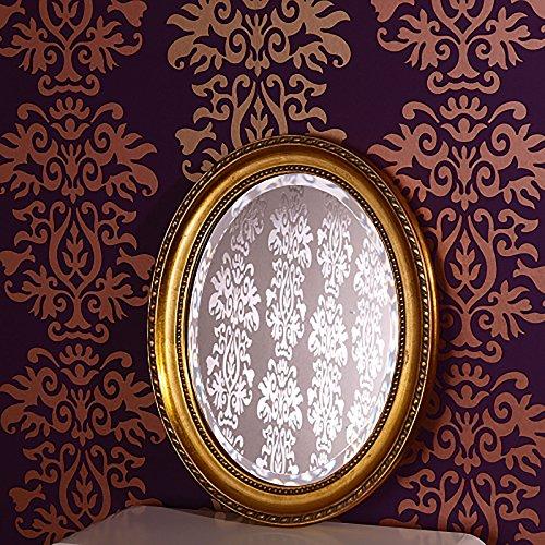 DESIGN DELIGHTS OVALER FACETTEN SPIEGEL IM BAROCK RAHMEN 48x38cm Wandspiegel Jugendstil-Look gold
