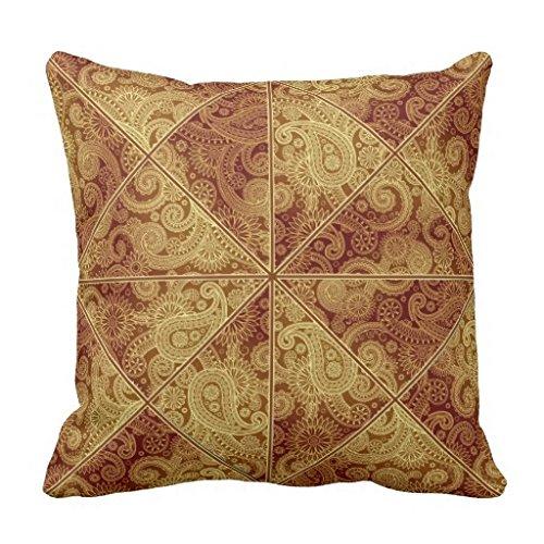 Burgund Leinwand (Gold und Burgund Paisley Muster Kissen Sham für Sofa Leinwand Accent Kissen Fall für Wohnzimmer Dekorative Kissenbezug, 45x 45cm)