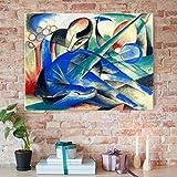 Bilderwelten Glasbild - Kunstdruck Franz Marc - Träumendes Pferd - Expressionismus Quer 3:4, Wandbild Glas Bild Druck auf Glas Glasdruck, Größe HxB: 70cm x 100cm