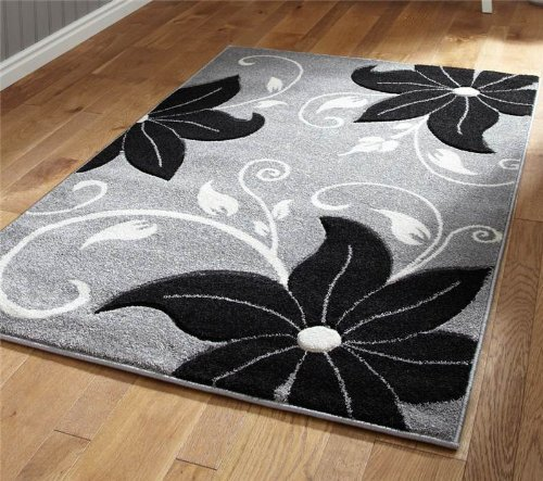 Verona OC15grau/schwarz-060x 120cm aus 100% Polypropylen machinecm Made Floral Heat Set Garn Teppich -
