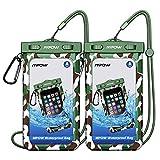[2 Pezzi] Impermeabile Custodia Mpow, IP68 Cellulare Sacchetto a Secco con Campeggio/Pesca/Escursionismo Moschettone e Cordino per iPhone, Google pixel, HTC, LG, Huawei, Sony, Nokia (2-Pack)
