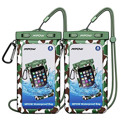 Mpow IPX8 Wasserdichte Hülle, 2 Stück Wasserdichte Tasche, Kompatibel mit iPhone 7/7 Plus Home-Taste für iPhone7/7Plus/6s/6, Samsung Galaxy S6/ S5/S7, Huawei bis zu 6 Zoll (Tarnung+Tarnung)