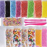 (50000pcs)15 pack Bolas de Espuma para Limo Slime Perlas de Poliestireno Colores + 1 pack Mini Rebanadas de Fruta artesanal + 3 Herramientas Relleno Decoración Diy Bricolaje