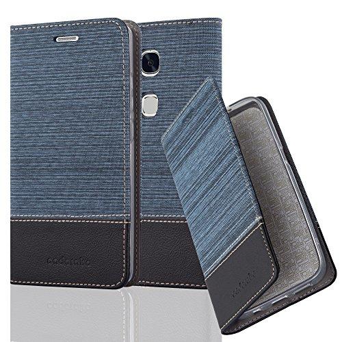 Cadorabo Hülle für Honor 5X / Play 5X / Huawei GR5 - Hülle in DUNKEL BLAU SCHWARZ – Handyhülle mit Standfunktion und Kartenfach im Stoff Design - Case Cover Schutzhülle Etui Tasche Book