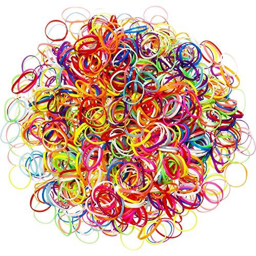 Packung mit 1000 Mini Gummibändern Weiche Elastische Bänder für Kinderhaar, Zöpfe, Hochzeit,...