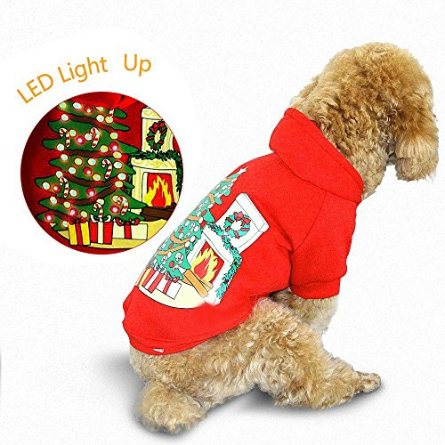 royalwise Light up Dog Shirt Kostüm Xmas Tree Pet LED Kleidung Große Hunde Hoodie Urlaub Pet Pullover für Mittlere bis Große Hunde, L, Red-X'MAS Tree and Stove Urlaub Led