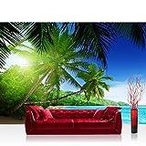 Fotomural, 400x 280cm Premium Plus fotográfico pintado–cuadro de pared–Paradise Beach–Playa Mar Palmeras Beach 3d Océano palmera–No. 005
