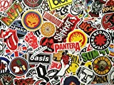 SBS Lot de Stickers Rock, Musique, Logos Groupes de Rock, Metal, Punk, Hardrock, Autocollants Music Band, Vinyl, déco Skate, Chambre, baggae, Graffiti, Scrapbooking, Doodle (50)...