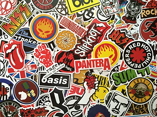 Rock aufkleber pack, rock and roll, Musik, Rockband, logo, hardrock, metal, punk, Markierung, viele aufkleber Wasserdicht für Gitarre Trommel, Skateboard, Motorrad, Fahrrad, Koffer, grafffiti (50) -