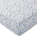 AmazonBasics Spannbetttuch, Mikrofaser, Blau mit Blumenmuster, 90x200x30cm