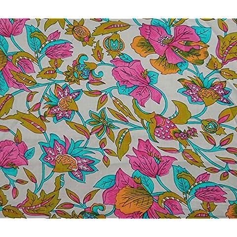 Diseñador de algodón floral beige tela impresa 42 Amplia arte de costura Tela del vestido