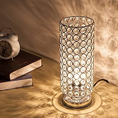 ZEEFO Crystal Table Lamp, Modern Style K9 Crystal Desk Lamp, 28 cm High Elegant Crystal Light, Compact Design Lamps Suitable for Home, Bedroom, Living Room, Dining Room (Sliver) - low-cost UK light store.